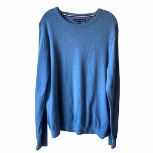 Tommy Hilfiger Blue Cotton Knit Sweater Crew Neck